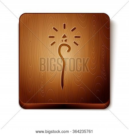 Brown Magic Staff Icon Isolated On White Background. Magic Wand, Scepter, Stick, Rod. Wooden Square