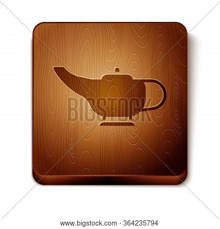 Brown Magic Lamp Or Aladdin Lamp Icon Isolated On White Background. Spiritual Lamp For Wish. Wooden