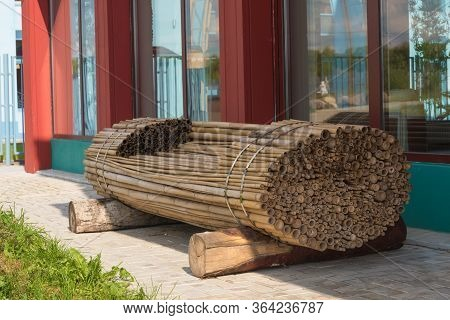 A Bench Made Of Bamboo Stalks. Creative Idea. The Concept Of Environmental Friendliness.