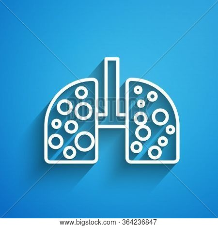 White Line Virus Cells In Lung Icon Isolated On Blue Background. Infected Lungs. Coronavirus, Covid-