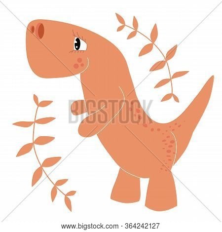 Cartoon Vector Illustration Of A Dinosaur And Twigs On A White Background