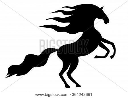 Black Silhouette Of A Wild Prancing Horse.