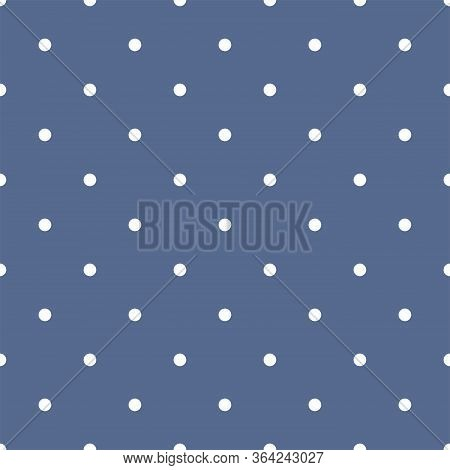 Sweet Small White Polka Dots On Baby Blue Background - Retro Seamless Vector Pattern