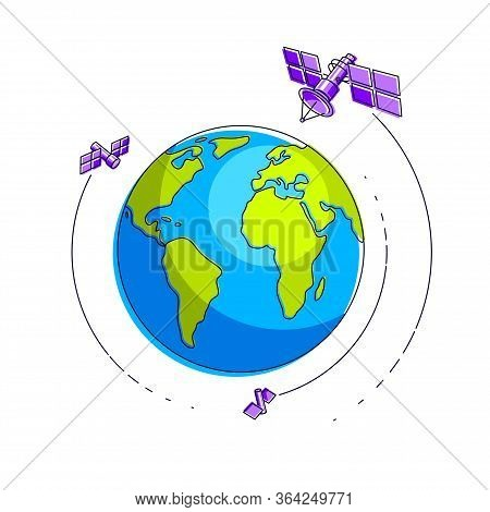 Global Communication Technology Satellites Flying Orbital Spaceflight Around Earth, Spacecraft Space