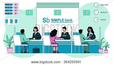 Clients Being Served In A Bank By Diverse Multiracial Staff Behind Desks In Kiosks, Colored Vector I