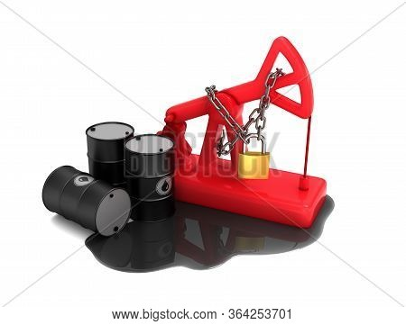 Locked Red Pumpjack, Barrels And Spilled Oil On White Background. 3d Illustration.