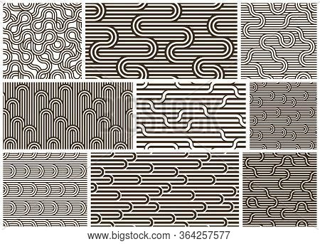 Linear Seamless Backgrounds With Twisted Lines, Vector Abstract Geometric Patterns Set, Stripy Weavi