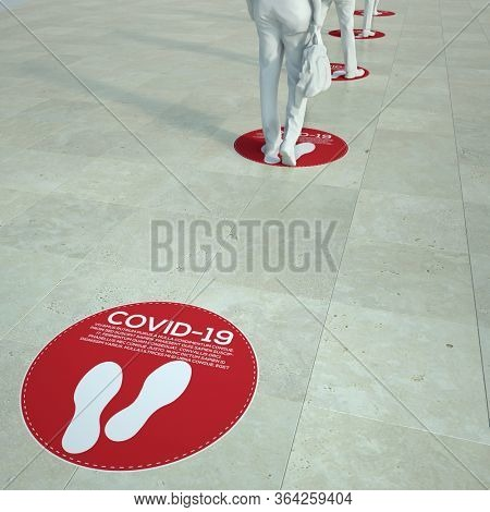 3D rendering of people standing in a queue with social distancing floor markers. Plese note that there is dummy text for graphic purposes so no translation is required