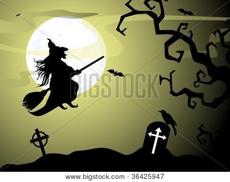 Halloween witch flying on broomstick, scary Halloween background. EPS 10.