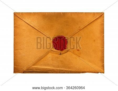 Close Up Old Vintage Weathered Brown Paper Blank Mailing Envelope With Retro Styled Red Wax Seal, El