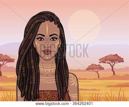 Animation Portrait Of The Beautiful African Girl In Ancient Clothes. Savanna Princess. Background -