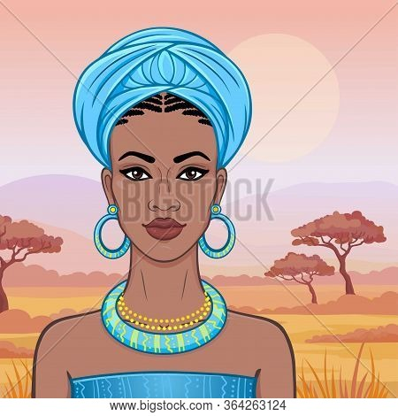 Animation Portrait Of The Beautiful African Woman  In A Turban. Savanna Princess, Amazon, Nomad. Bac