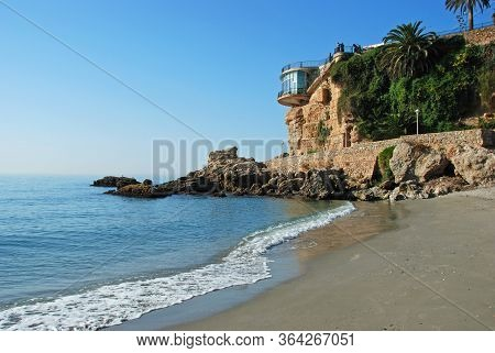 View Of The Beach, Nerja, Costa Del Sol, Malaga Province, Andalucia, Spain.