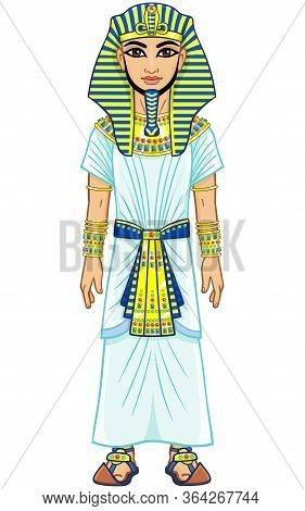 Animation Egyptian Pharaoh. Full Growth. Isolated On A White Background.