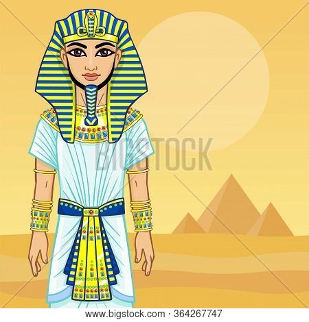 Animation Egyptian Pharaoh. Background - The Desert And Pyramids.
