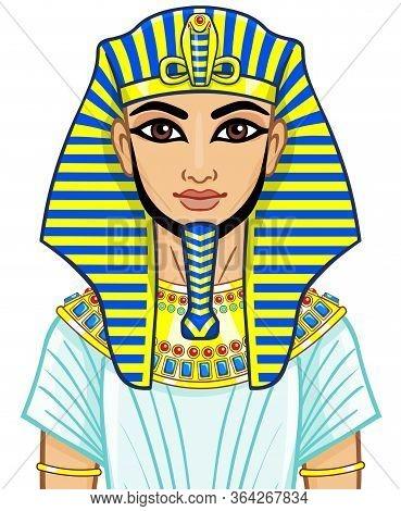 Animation Egyptian Pharaoh. Isolated On A White Background.