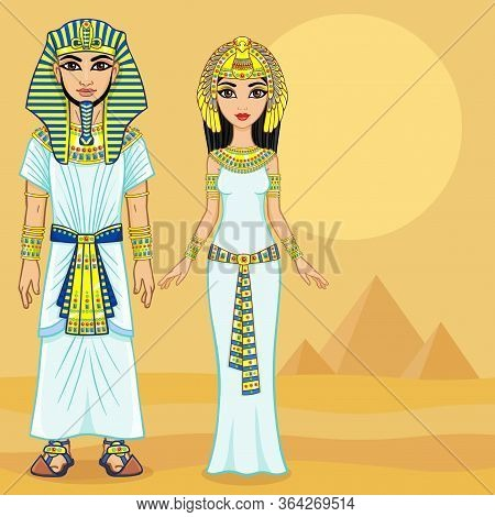 Animation Egyptian Imperial Family In Ancient Clothes. Full Growth.  Background - The Desert, The Eg