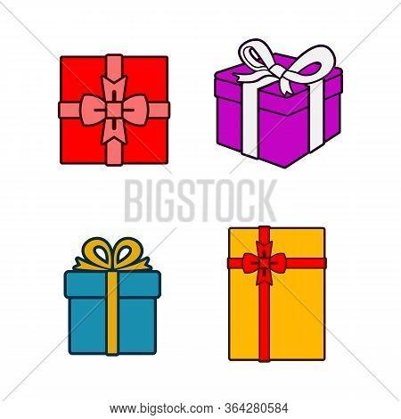 Gift Box Vector Cartoon Set Icon. Illustration Of Isolated Cartoon Icon Gift Box With Ribbon. Vector