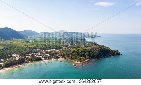 Aerial From Drone, Landscape Of Klong Dao Beach At Lan Ta Island South Of Thailand Krabi Province,po