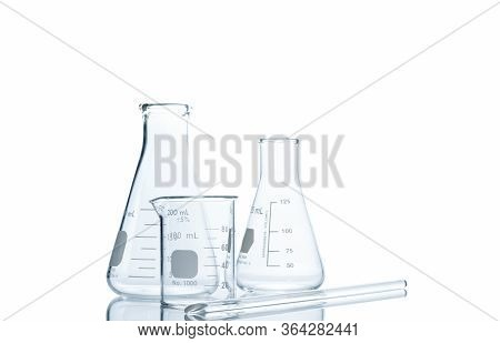 Realistic Glass Laboratory Equipment Set. Flasks And Measuring Beaker For Science Experiment In Labo