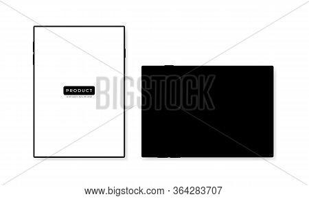 Black Tablet Mockup Design Vector Illustration. Modern Tab Images