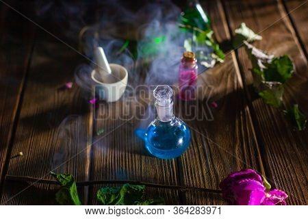 Witchcraft. Witch Doctor Desk Table. Magic Potion. Alternative Medicine Concept. Divination, Love Po