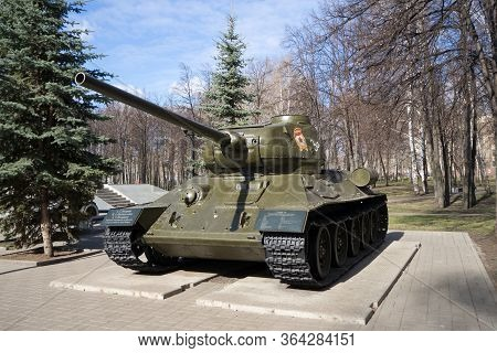 Sterlitamak, Russia - April 24, 2019: T-34 Tank In A City Park Exhibited As A Historical Monument. T