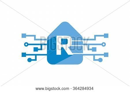 Advance Technology Logo With Letter R Isolated With White Background. Letter R Logo Design Template