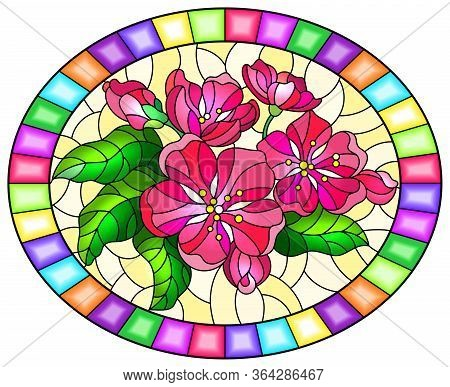 Illustration In Stained Glass Style With A Branch Of Cherry Blossoms, Flowers, Buds And Leaves On A
