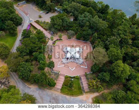 Aerial View Of White Pagoda At Wat Tham Klong Phen Temple In Nong Bua Lam Phu Province, Thailand.