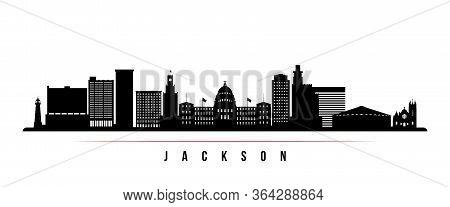 Jackson Skyline Horizontal Banner. Black And White Silhouette Of Jackson, Mississippi. Vector Templa