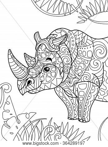 Zentangle Stylized Cartoon Rhino Rhinoceros , Isolated On White Background. Hand Drawn Sketch For Ad