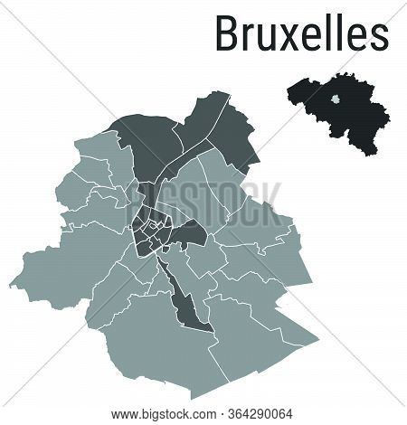 Bruxelles Map Brussels Administrative Districts Regions Vector Template With Map Of Belgium Grey On