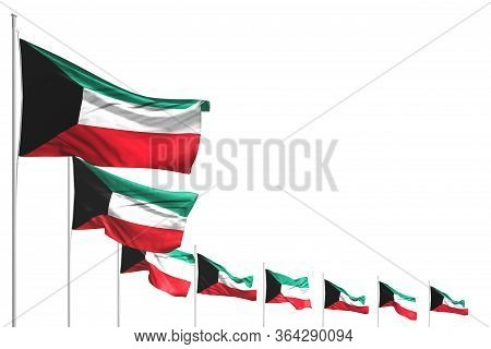 Wonderful Many Kuwait Flags Placed Diagonal Isolated On White With Place For Your Content - Any Feas
