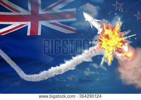 New Zealand Intercepted Ballistic Missile, Modern Antirocket Destroys Enemy Missile Concept, Militar
