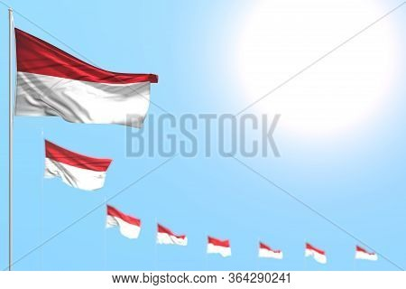 Cute Memorial Day Flag 3d Illustration  - Many Indonesia Flags Placed Diagonal With Soft Focus And E