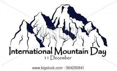 International Mountain Day, December 11,everest Mountains Landscape  Nature Outdoor Vector With Hand