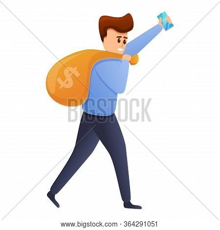 Man Carry Money Bag Icon. Cartoon Of Man Carry Money Bag Vector Icon For Web Design Isolated On Whit