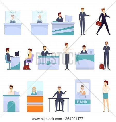 Bank Teller Icons Set. Cartoon Set Of Bank Teller Vector Icons For Web Design