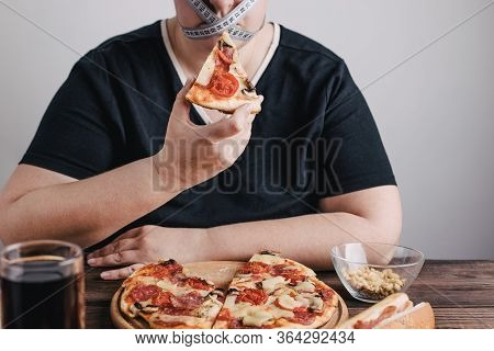Diet Restricts, Weight Loss, Eating Disorder. Anorexia And Bulimia Concept. Obese Woman With Pizza,