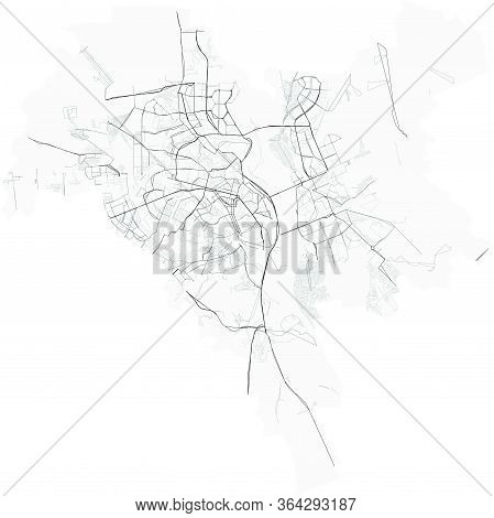 Vector Map Of Ukrainian City Kyiv (kiev) With Highways And Streets, Administrative Borders, Grey Col