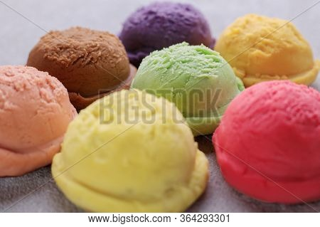 Various Flavored Ice Cream Scoops, Close Up. Food Background, Refreshment, Rainbow, Variety, Cool Se