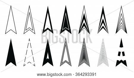 Arrows Set Icon Triangle Black. Original Design With Variations, Arrowhead Icons For Web Application