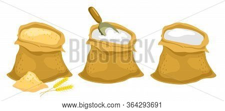 A Sack Of Wheat And A Sack Of Flour. Ears And Wheat Bag And Flour Bag Isolated Vector Illustration.
