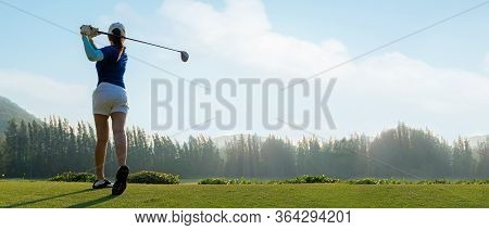 Golfer Sport Course Golf Ball Fairway. People Lifestyle Woman Playing Game Golf Tee Of On The Green