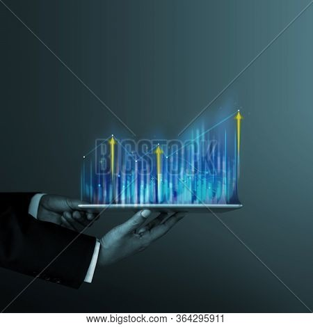 Technology, High Profit, Stock Market, Business Growth, Strategy Planing Concept. Businessman In Sui