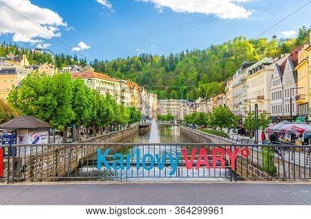 Karlovy Vary, Czech Republic, May 10, 2019: Carlsbad Historical City Centre With Tepla Bridge, Tepla