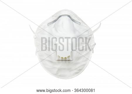 White N95 Mask Protect Filter Against Air Pollution Pm2.5 Isolated On White Background. Mask With A