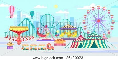 Amusement Park, Urban Landscape With Carousels, Roller Coaster And Air Balloon. Circus, Fun Fair And