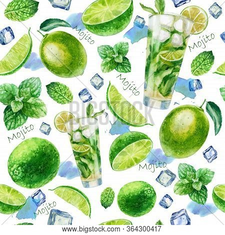 Watercolor Illustration Mojito Cocktail Pattern. Glass With A Mojito Cocktail, Pieces Of Ice, Lime A